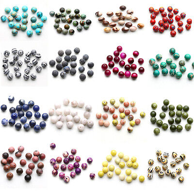 Natural Gemstone Round Spacer Beads DIY Jewelry Making Fit Braclet Wholesale Lot