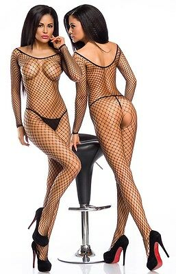 Sexy Netz Catsuit Overall Bodystocking Netzbody langarm Ouvert Body Stocking