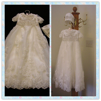 New Born Baby Girl Christening Baptism Formal Dress Gown white Lace Beaded