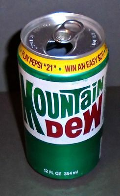 """Cool 1980's Vintage Mountain Dew """"Yellow Band"""" """"Pepsi 21"""" Contest Soda Can"""