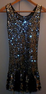 VINTAGE 1920s STYLE SEQUIN EVENING DRESS SIZE SMALL  EXCELLENT CONDITION