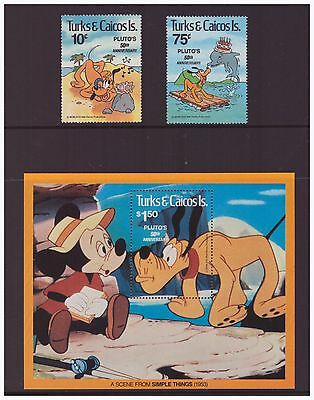 Turks & Caicos Islands 1981  Disney Pluto Animation Cartoon set sheet  MNH mint