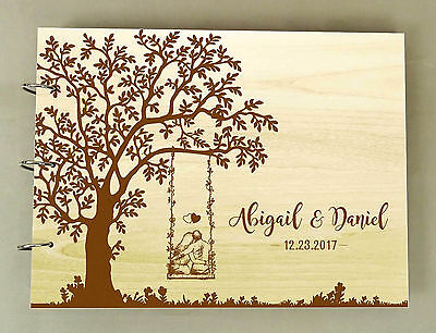 Personalized Wedding Guest Book Wood Engraved Custom Bride and Groom Photo Book