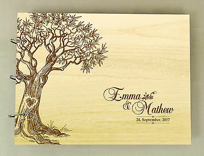Handmade Tree Design Personalized Guest Book Rustic Wedding Wood Engraved Book