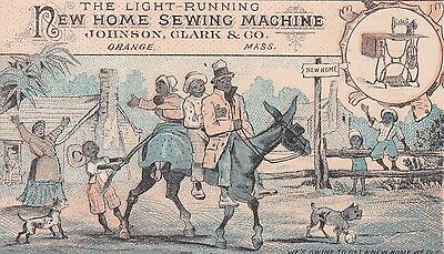 TC : Black family on Donkey , New Home Sewing Machine 1880s