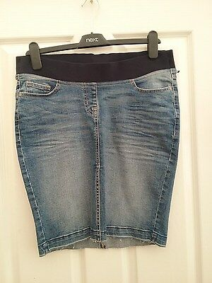 Next Maternity Womens Stretch Denim Skirt Size 8 Length 20 inches BNWT