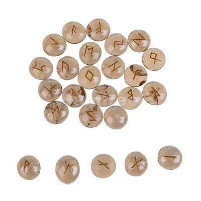 25pcs Runic Symbols Engraved Runes for Divination Tool Accessories Champagne