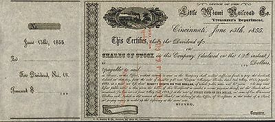 USA LITTLE MIAMI RAILROAD COMPANY stock certificate DIVIDEND 1855