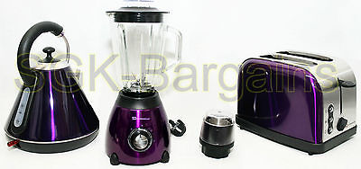 Matching Kitchen Set 1.8L Electric Cordless Kettle Toaster 500W Blender PURPLE