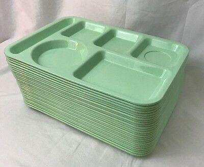 Lot 25 Melamine 6 Compartment Lunch Food Tray Green Cafeteria School Camping Vtg
