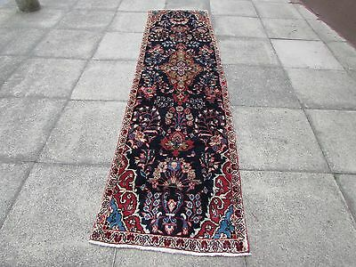 Old Traditional Hand Made Persian Rug Oriental Blue Wool Narrow Runner 296x77cm