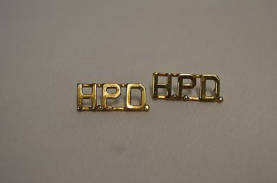 "H.P.D. polished GOLD 1/2"" Letters Collar Pins Insignia police HPD USA MADE"