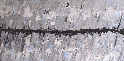 HUGE XL SILVER ORIGINAL ABSTRACT ACRYLIC CONTEMPORARY PAINTING 120x60cm canvas