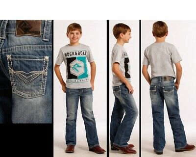 "Rock & Roll Cowboy Kid's BB Gun Heavy ""V"" Embroidery Regular Fit Jeans BB-8549"
