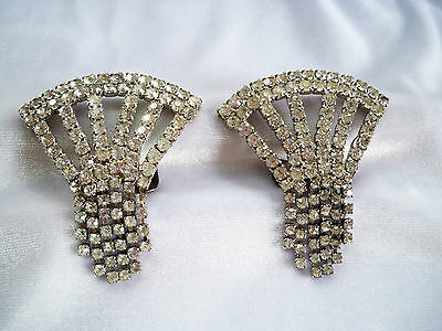 Art Deco Vintage Prong Set Crystal Rhinestone Fringe Large Shoe Clips