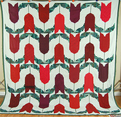 Lg. AMAZING Vintage Log Cabin Tulip Variation Patchwork Quilt Top ~GREAT DESIGN!