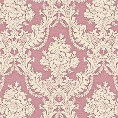 Dollhouse Miniature Pink Tulips Tan & Mauve Floral Shabby Chic Wallpaper 1:12