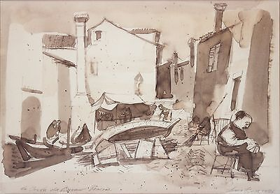 LOUIS BOSA-Italian/NY/PA Modernist-Original Signed WC-Old View of Venice