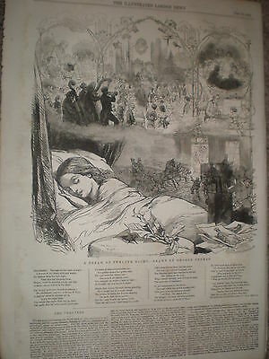 Poem A Dream of Twelfth Night by E L Hervey Illus George Thomas 1855 old print