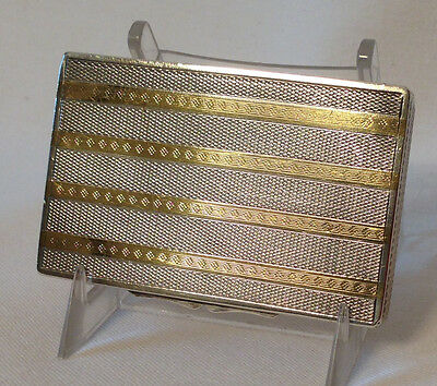 900 Silver FC in circle Vintage Calling Card Case - golden etched lines on lid