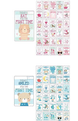 30 Baby Girl/Boy memorable moments milestone cards photo props baby shower