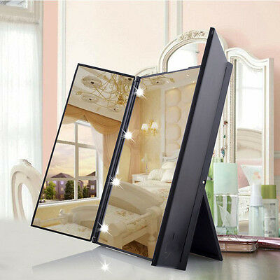 3-Folding Portable Touch Screen New Design 8 LEDs Lighted Makeup Mirror Cosmetic