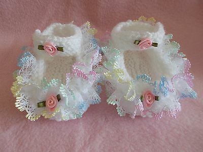 Hand Knitted Lace Baby Shoes N/B 0/3 3/6 6/12 Months
