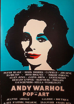 WARHOL ANDY ET LE POP ART Affiche d' Exposition Galerie Jeannie Abeille 1975