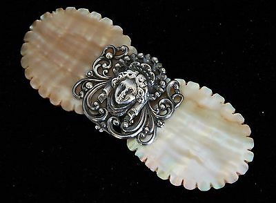 GREAT Antique Vintage Victorian Art Nouveau Mother of Pearl Sterling Nurses Belt