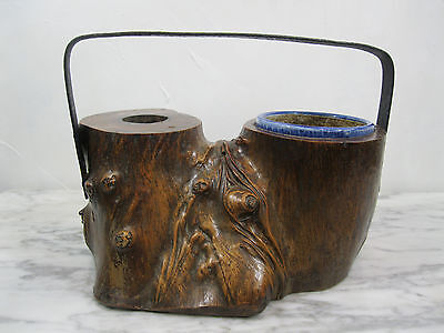 Lg Antique Qing Dynasty Gnarled Wood Dbl Brush Pot Porcelain Insert Iron Handle