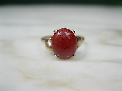 """Victorian Chinese """"a"""" Jade Bright Red Russet Jadeite Ring 14K Rose Gold Sz 5 1/4"""