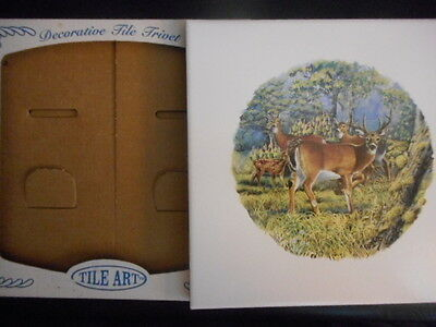 Tile Trivet With 4 Deer In The Forest By Tile Art