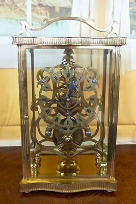 Superb rare antique 19th c Fusee driven Skeleton & 4 crystal glass mantle clock