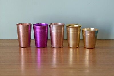 Vintage anodised cups picnic caravans  metal cup coloured 3195