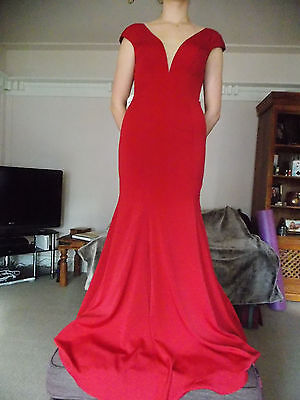 Red Long Ball Formal Bridesmaid Wedding/Evening Prom Gown Dress Size 10/12