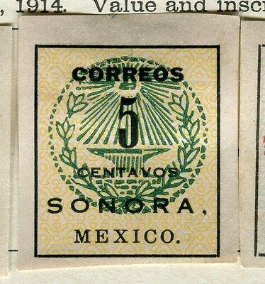 MEXICO;  Early 1900s Imperf SONORA issue Mint hinged 5c. value