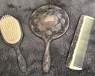 1940s Vintage Antique Sterling Silver Vanity Mirror Brush And Comb Set