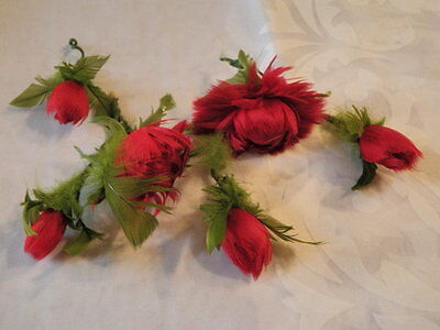 "Vtg Millinery Flower Feather Trim Collection 2-3"" Red Green Rose Unusual H1443"