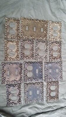 Lot of 13 Vtg.Solid Brass Outlet & Light Switch Cover Plates