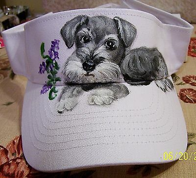 hand painted Schnauzer dog on cotton  visor adjustable