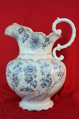 c 1893 Baker & Co. Ltd. Blue Transferware Pedestal Urn Pitcher Ewer England