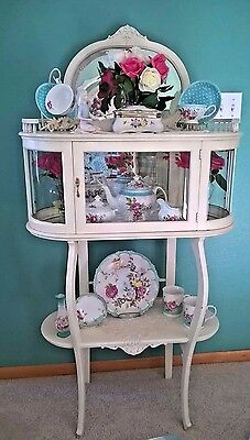 Vintage 1800's French Style Ivory Etagere Display Mirrored Curio Cabinet