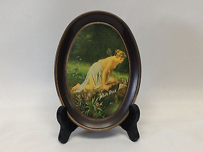 """VINTAGE WHITE ROCK PRODUCTS TIN ADVERTISEMENT WITH """"Psyche at Nature's Mirror"""""""