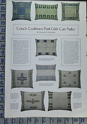 1910 Couch Pillow Cushion Pattern Design Diy Home Decor Vintage Art Ad  Ca35