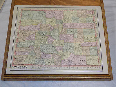 1891 Antique CRAM Map///COLORADO, Backed With NEBRASKA