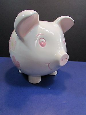 Large White and PINK SCRAP BOOK CUT OUTS  Painted Ceramic Kids Pig Piggy Bank