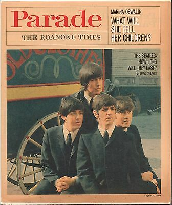 Vintage August 1964 Parade Newspaper The Roakoke Times The Beatles