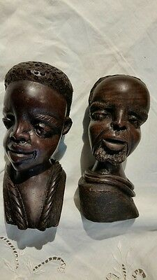Vintage Papua New Guinea Carved Heads Tribal ARTEFACT