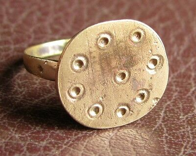 Ancient Artifact > Medieval Bronze Finger Ring SZ: 9 US 19mm 14749 DR