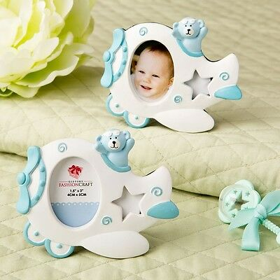 30 Adorable Blue Airplane Teddy Bear Photo Frame Baby Boy Shower Favors
